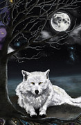 White Wolf Posters - Skoll and the Moon Poster by Amanda Makepeace