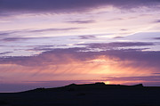 Gold Skies Framed Prints - Skomer Sunset Framed Print by Anne Gilbert