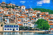 Geek Painting Prints - Skopelos Print by George Rossidis
