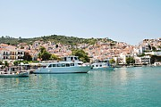 Skopelos Metal Prints - Skopelos harbour Greece Metal Print by David Fowler