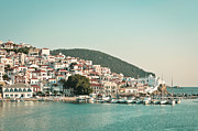 Skopelos Metal Prints - Skopelos Harbour Metal Print by Tom Gowanlock