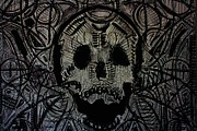 Pallet Drawings Framed Prints - Skull 44 Framed Print by Michael Kulick