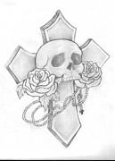 Rosary Drawings Posters - Skull and Cross Tattoo Poster by Leah Thornton