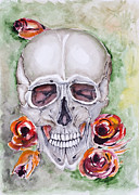 Grunge Skull Paintings - Skull and roses  by Irina Gromovaja