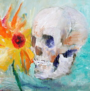 Smiling Painting Posters - SKULL and SUNFLOWER Poster by Fabrizio Cassetta