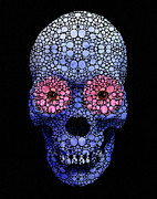 Whimsical Art - Skull Art - Day Of The Dead 1 Stone Rockd by Sharon Cummings