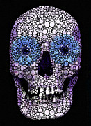Skull Art - Day Of The Dead 2 Stone Rock'd Print by Sharon Cummings