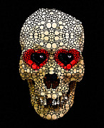 Music Paintings - Skull Art - Day Of The Dead 3 Stone Rockd by Sharon Cummings