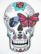 Sugar Skull Drawings Posters - Skull Candy Original Poster by Karen Larter