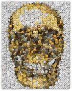 Espn Mixed Media Prints - Skull Coins Mosaic Print by Paul Van Scott