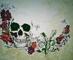 Tattoo Flash Posters - Skull Flower Mural Poster by Pete Maier