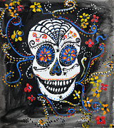 Popular Mixed Media - Skull Flowers by Ismeta Gruenwald