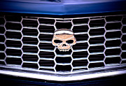 Chrome Skull Prints - Skull Grill Print by Phil 