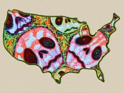 Cartography Mixed Media Prints - Skull Map USA Print by Laura Barbosa