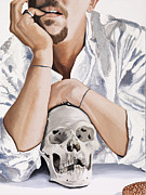 White Shirt Paintings - Skull by Marcella Lassen