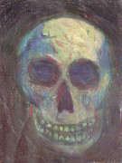 Unique Pastels Posters - Skull Mixed media painting Poster by Jennifer Vazquez