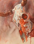 Original Watercolor Painting Originals - Skull Of The Brave by Robert Hooper