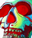 Abstract Fine Art Paintings - SKULL Original MADART Painting by Megan Duncanson