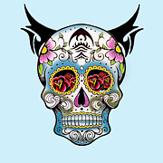 Sugar Skull Posters - Skull Pop Art  Poster by Mark Ashkenazi