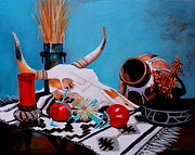 Cattail Paintings - Skull Still Life by M Diane Bonaparte