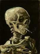 Cigarette Posters - Skull with burning Cigarette Poster by Pg Reproductions