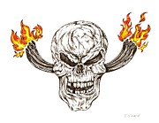 Exhaust Drawings Metal Prints - Skull with exhaust pipes and flames Metal Print by Karen Sirard