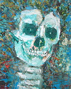 Skull Paintings - SKULL with THE SHINING in the eyes and CURLY-HAIRED by Fabrizio Cassetta