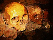 Creepy Digital Art Prints - Skulls in the Paris Catacombs Print by John Malone