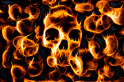 Skull Photos - Skulls of Fire by Ian Hufton