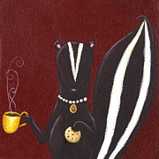 Cookie Painting Prints - Skunk with Coffee Print by Christy Beckwith