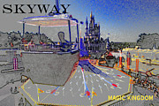 Gondola Digital Art Prints - Skway Magic Kingdom Print by David Lee Thompson