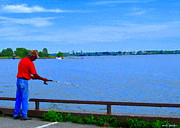 Summer Along The Canal Paintings - Sky Blue Calm Waters Fisherman On The Pier  Lachine Canal Montreal Summer Scenes Carole Spandau by Carole Spandau