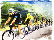 Tour De France Paintings - Sky Blue with Yellow by Shirley  Peters