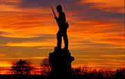 Sky Fire - 128th Pennsylvania Volunteer Infantry A1 Cornfield Avenue Sunset Antietam Print by Michael Mazaika