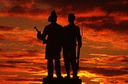 Fire Zouaves Posters - Sky Fire - 73rd NY Infantry Fourth Excelsior Second Fire Zouaves-A1 Sunrise Autumn Gettysburg Poster by Michael Mazaika