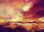 Skies Mixed Media Prints - Sky Fire Abstract Realism Print by Zeana Romanovna