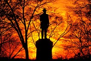 Volunteer Infantry Prints - Sky Fire - Flames of Battle 50th Pennsylvania Volunteer Infantry-A1 Sunset Antietam Print by Michael Mazaika