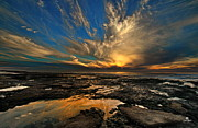 Tide Pools Framed Prints - Sky Flames Framed Print by Russ Harris