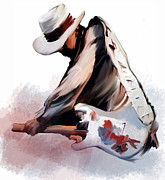 Collectibles Paintings - Sky Is Crying Stevie Ray Vaughan by Iconic Images Art Gallery David Pucciarelli