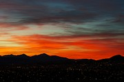 Sunset Greeting Cards Posters - Sky on Fire -- Butte Mt Poster by Kevin Bone