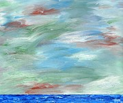 Landscape Greeting Cards Mixed Media Posters - Sky Over Ocean Poster by Patrick J Murphy