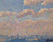 Signed Painting Prints - Sky over the city Print by Louis Hayet