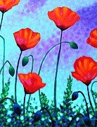 Poppies Field Painting Originals - Sky Poppies by John  Nolan