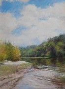 Realism Pastels - Sky River Trees  by Nancy Stutes