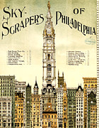 Hall Digital Art Posters - Sky Scrapers of Philadelphia 1896 Poster by Bill Cannon