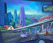 Skyscrapers. Painting Posters - Skyfall Double Vision Poster by Art West