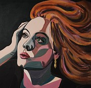 Adele Painting Metal Prints - Skyfall portrait crop Metal Print by Christel  Roelandt