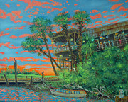 South Carolina Low Country Marsh Paintings - Skyfire on the Creek by Dwain Ray