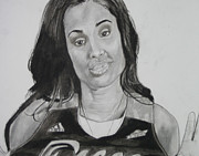 Basketball Sports Pastels Prints - Skylar Diggins Print by Aaron Balderas