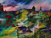 Milwaukee Skyline Framed Prints - Skyline and Abstract Paint 1 Framed Print by Anita Burgermeister